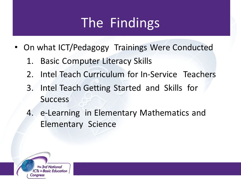 The Findings On what ICT/Pedagogy Trainings Were Conducted