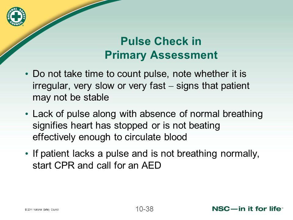 Pulse Check in Primary Assessment