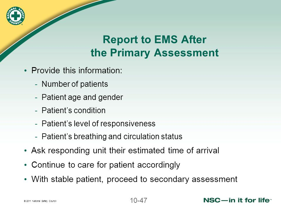 Report to EMS After the Primary Assessment