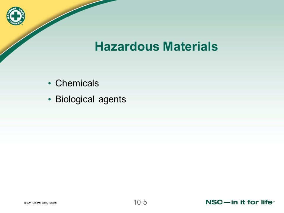 Hazardous Materials Chemicals Biological agents
