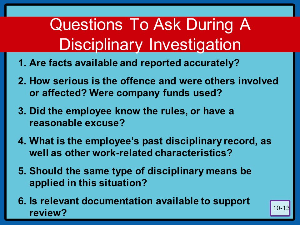 Questions To Ask During A Disciplinary Investigation