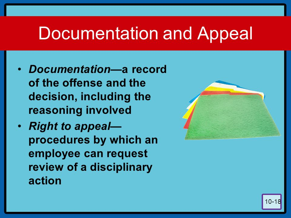 Documentation and Appeal