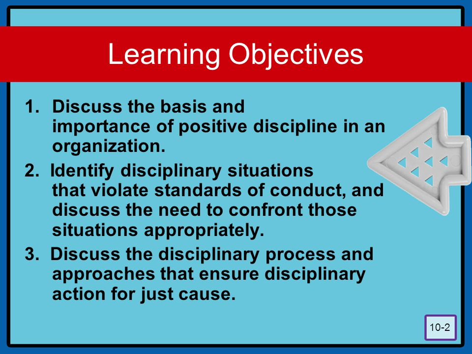 Learning Objectives Discuss the basis and importance of positive discipline in an organization.