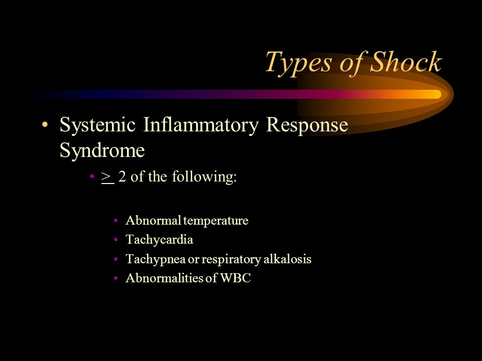Types of Shock Systemic Inflammatory Response Syndrome