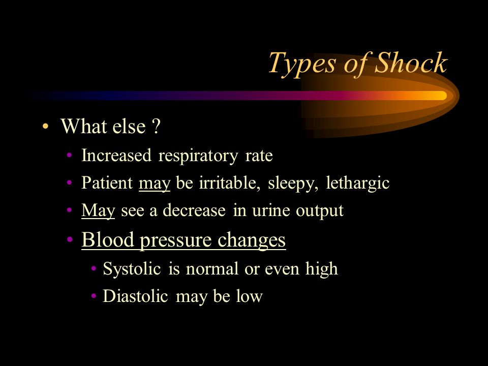 Types of Shock What else Blood pressure changes