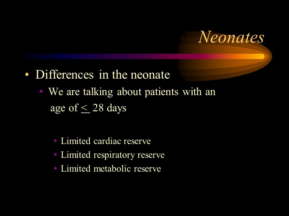 Neonates Differences in the neonate