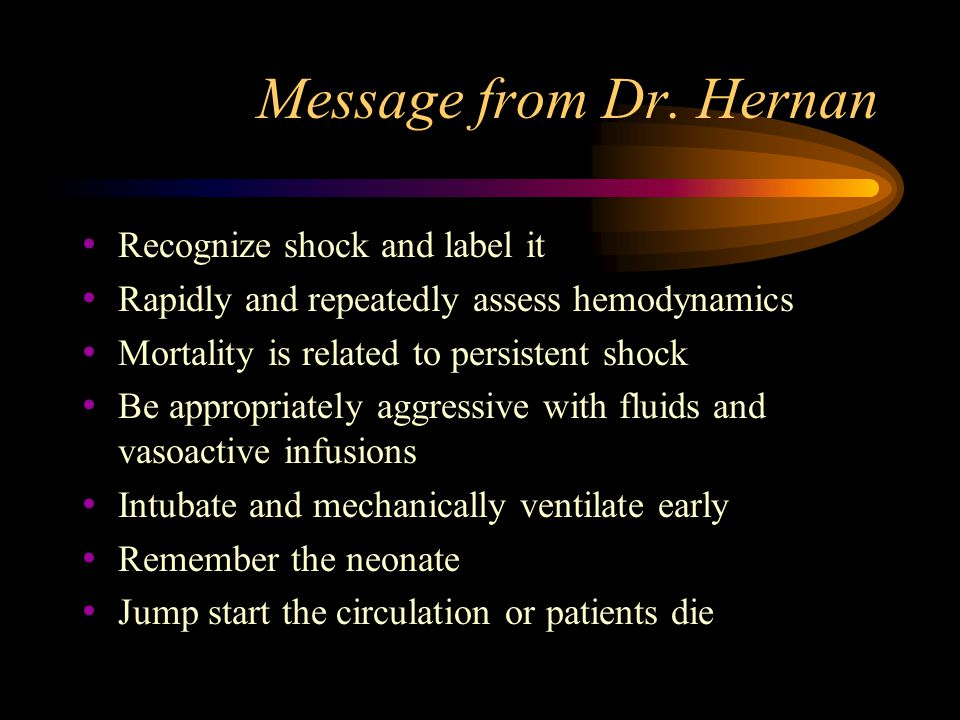 Message from Dr. Hernan Recognize shock and label it