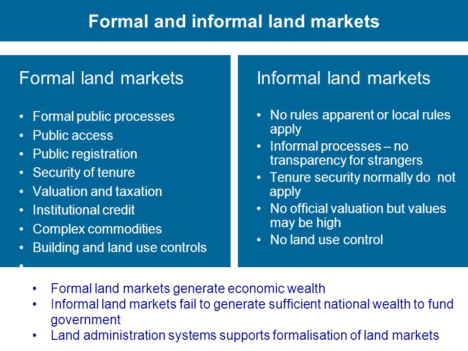 Formal and informal land markets