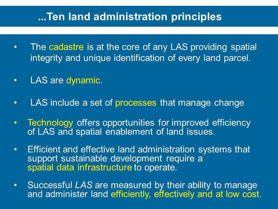 ...Ten land administration principles