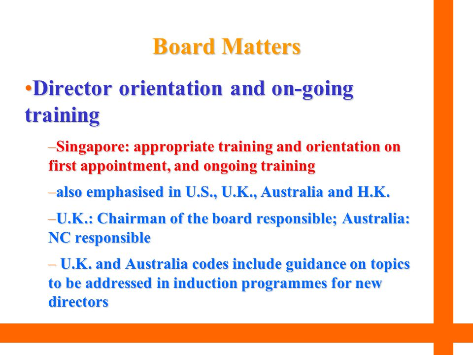 Board Matters Director orientation and on-going training