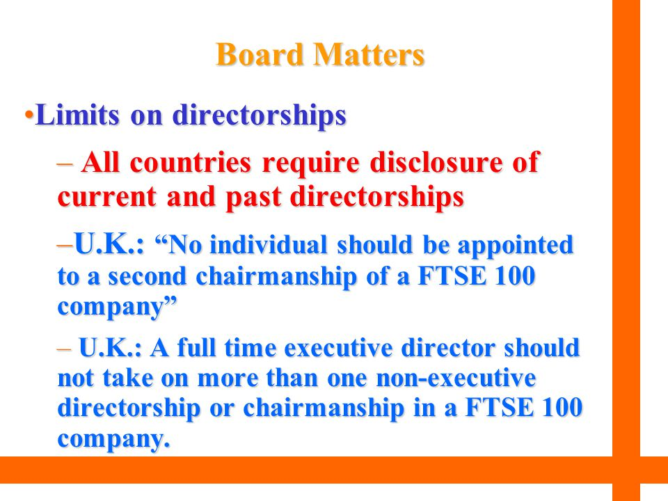 Board Matters Limits on directorships