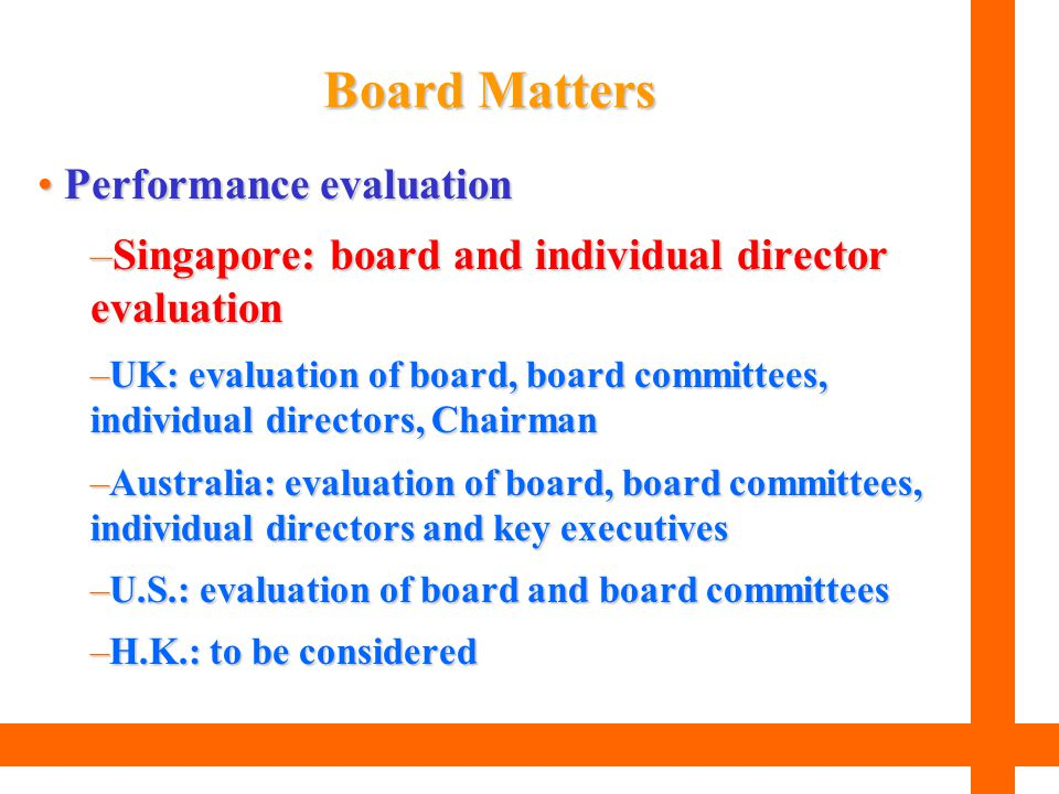 Board Matters Performance evaluation