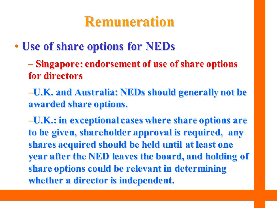 Remuneration Use of share options for NEDs