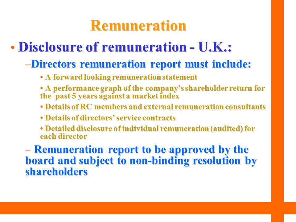 Remuneration Disclosure of remuneration - U.K.: