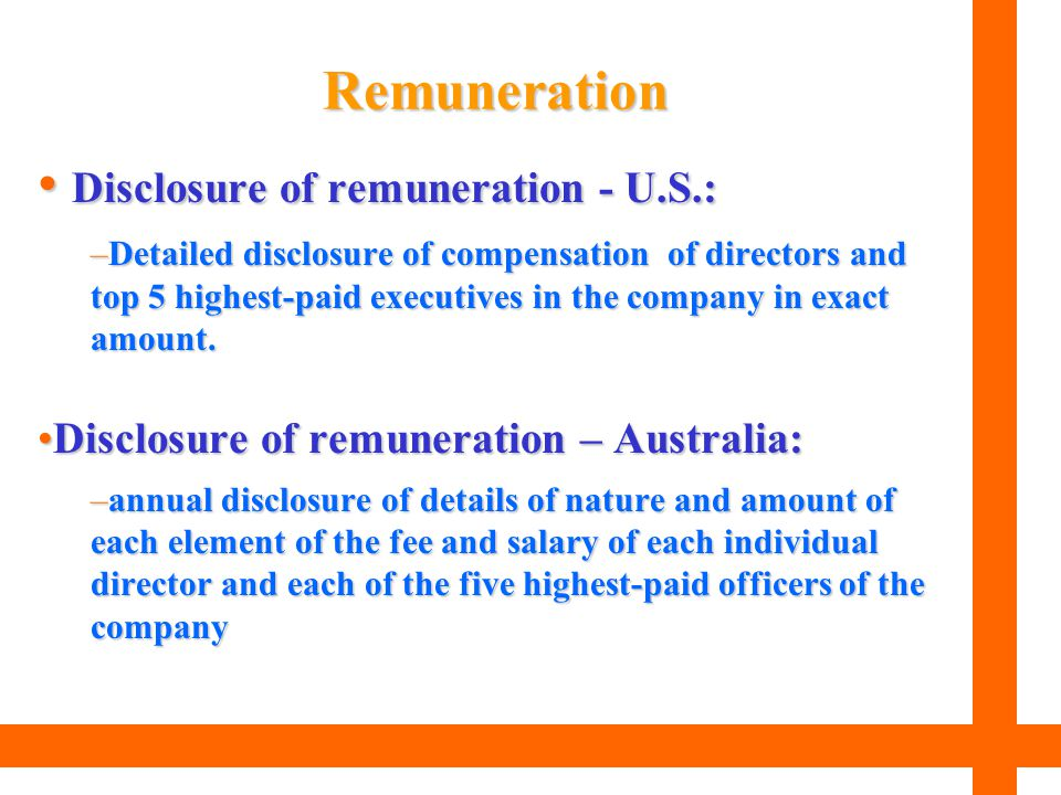 Disclosure of remuneration - U.S.:
