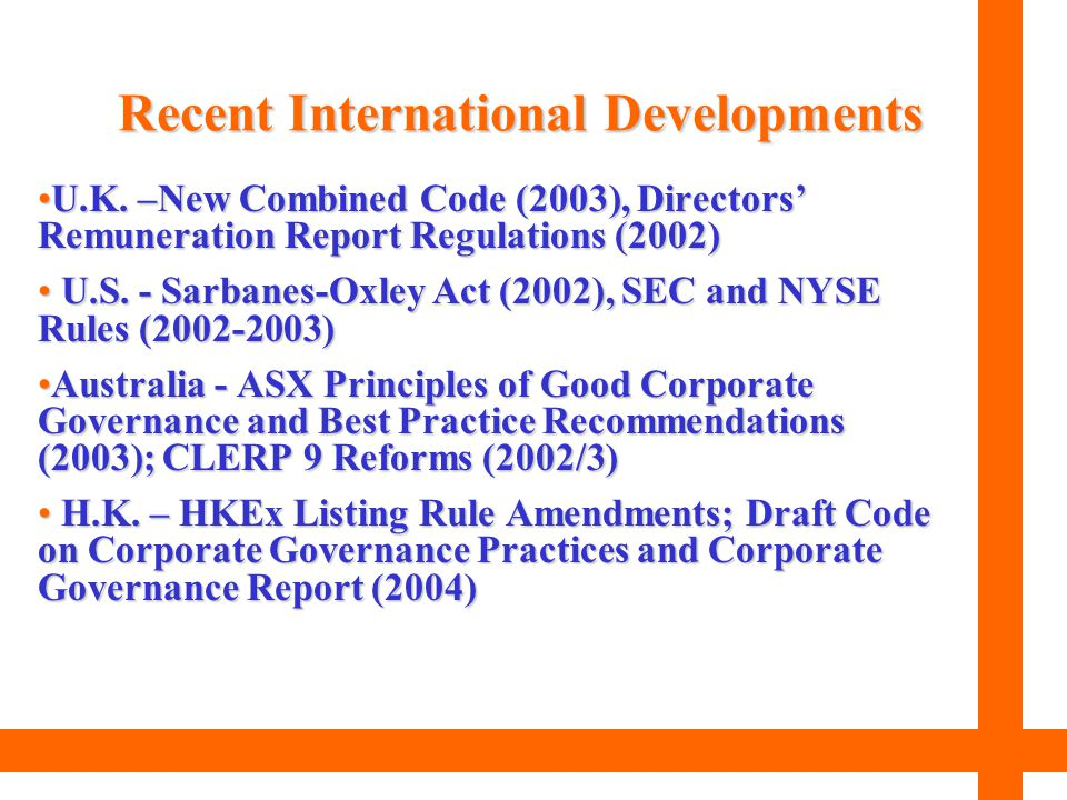 Recent International Developments
