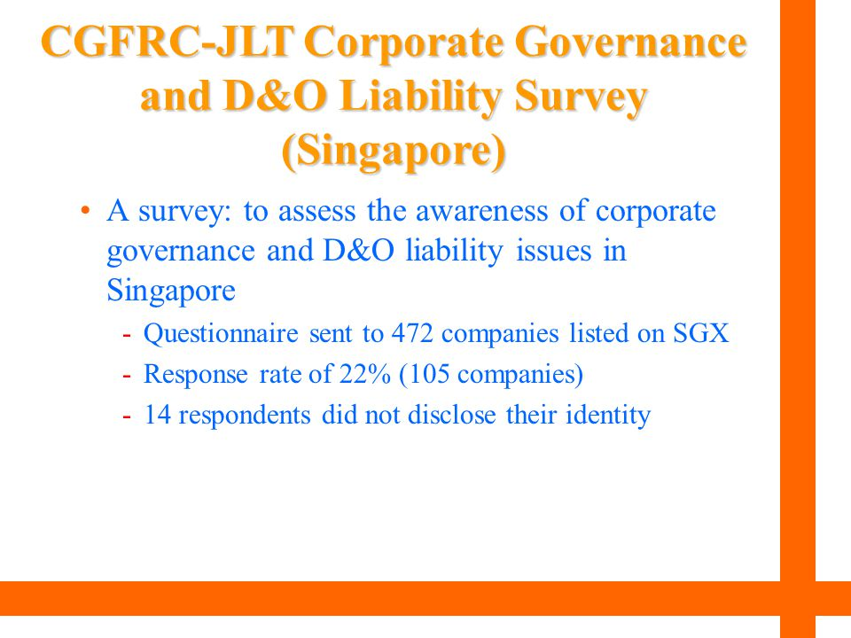 CGFRC-JLT Corporate Governance and D&O Liability Survey (Singapore)