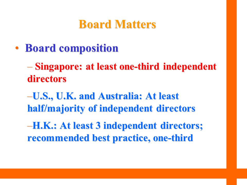 Board Matters Board composition