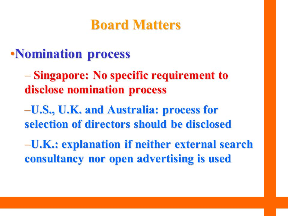 Board Matters Nomination process
