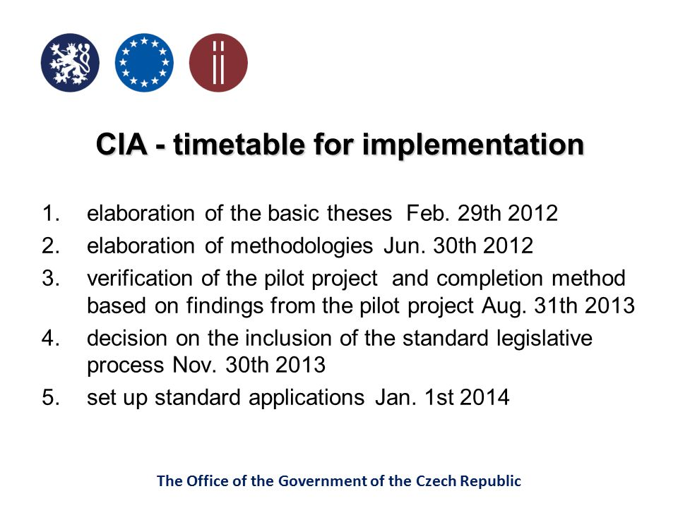 CIA - timetable for implementation