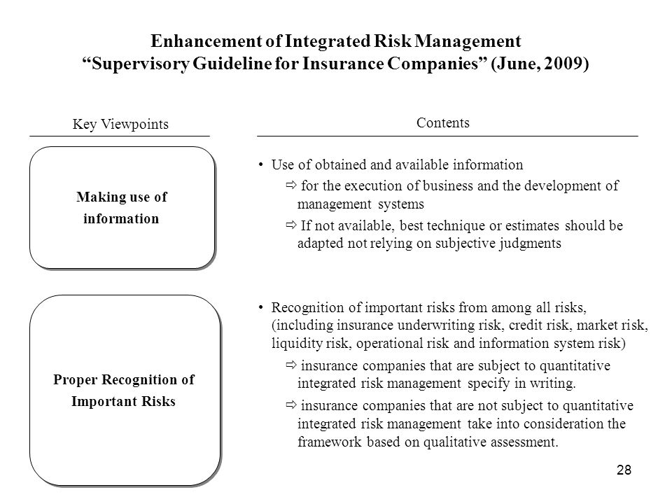Enhancement of Integrated Risk Management