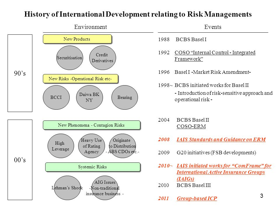 History of International Development relating to Risk Managements