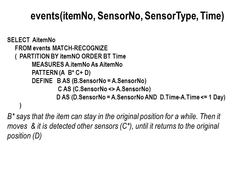 events(itemNo, SensorNo, SensorType, Time)