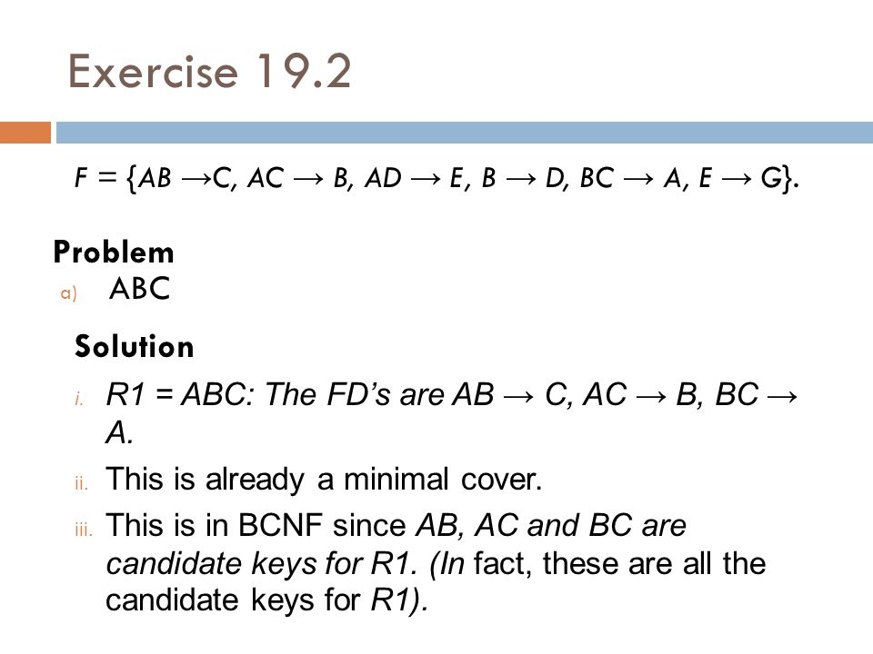 Exercise 19.2 Problem ABC Solution