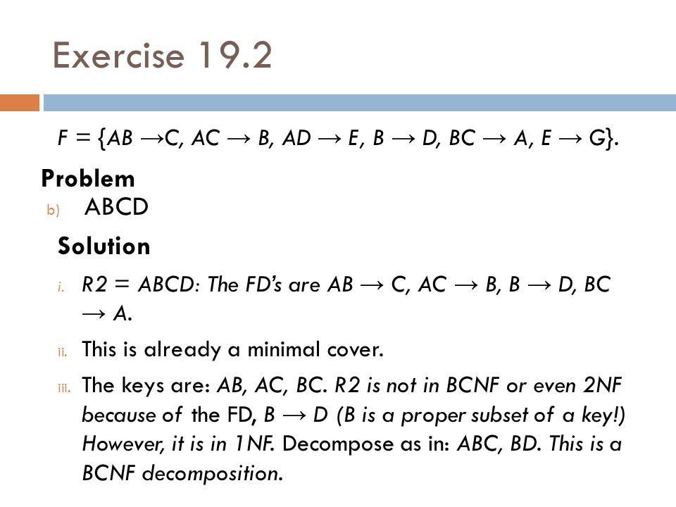 Exercise 19.2 Problem ABCD Solution