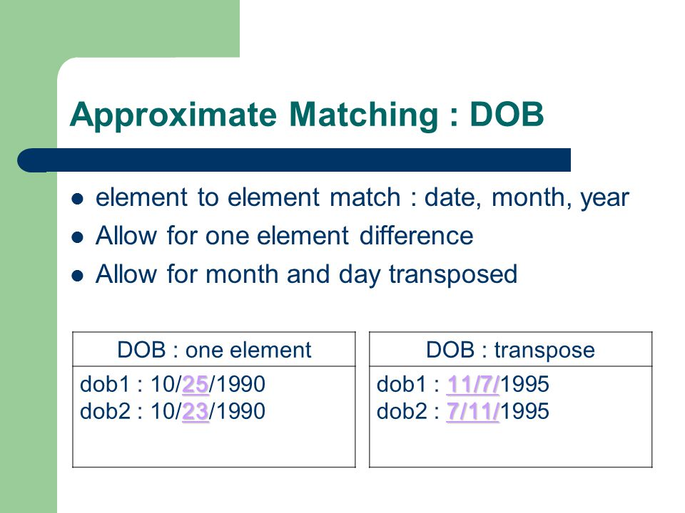 Approximate Matching : DOB