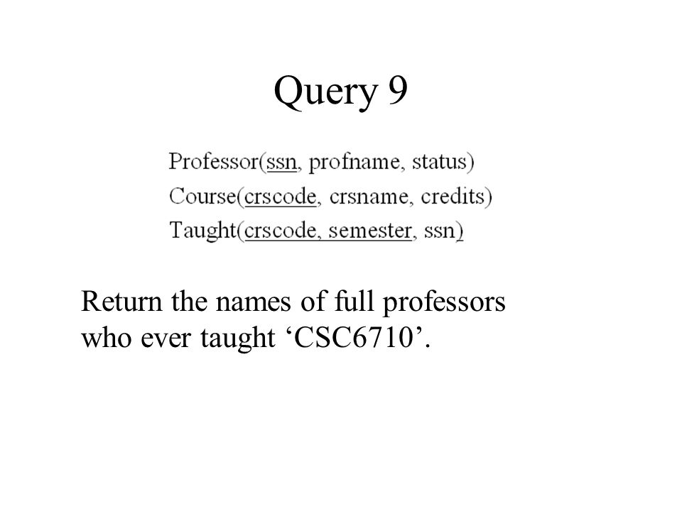 Query 9 Return the names of full professors who ever taught 'CSC6710'.
