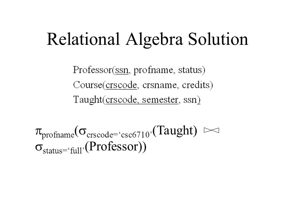 Relational Algebra Solution