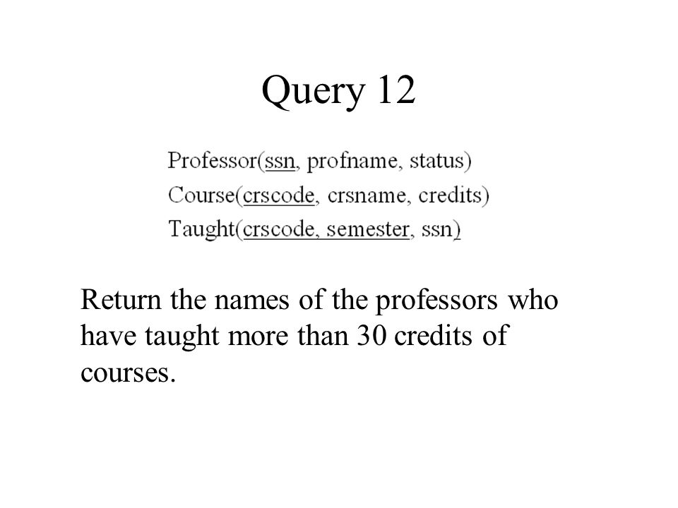 Query 12 Return the names of the professors who have taught more than 30 credits of courses.