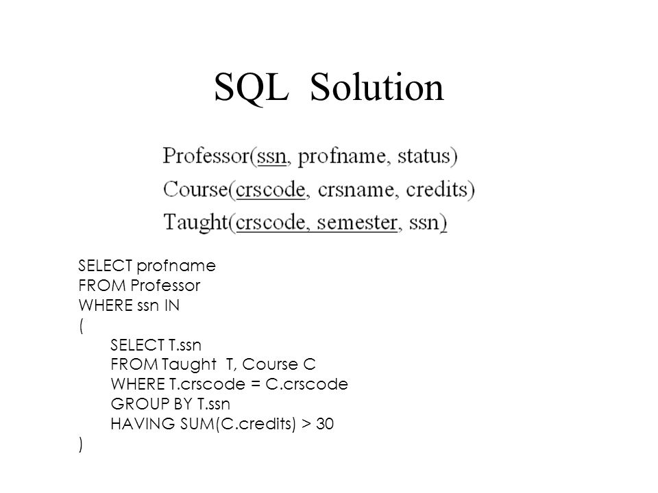 SQL Solution SELECT profname FROM Professor WHERE ssn IN (