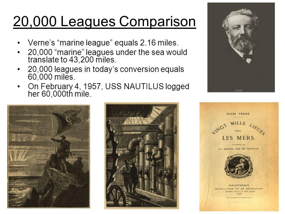 20,000 Leagues Comparison Verne's marine league equals 2.16 miles.