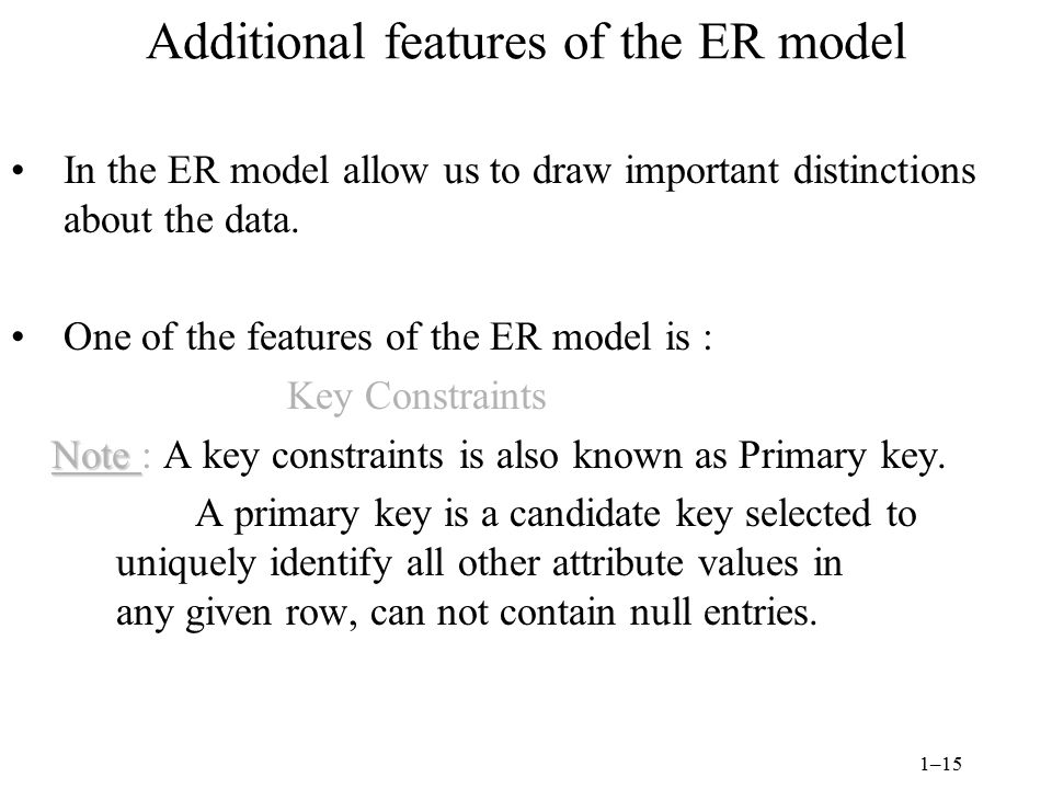 Additional features of the ER model