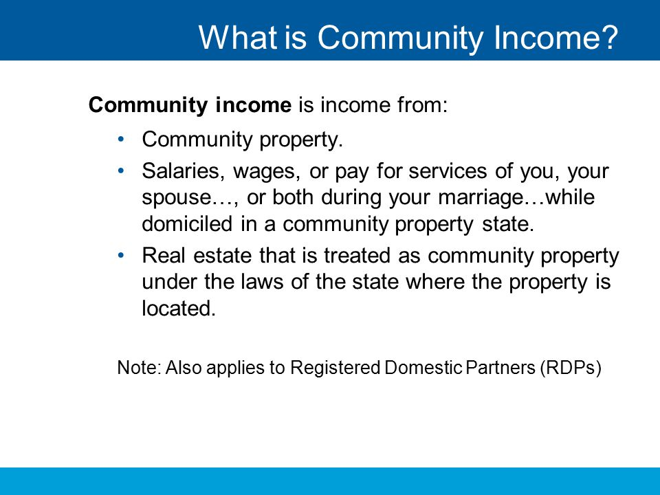 What is Community Income