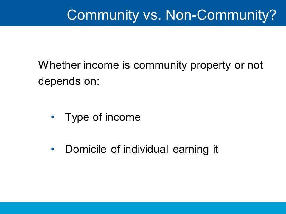 Community vs. Non-Community