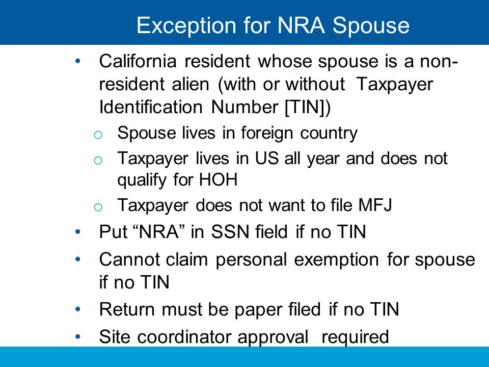 Exception for NRA Spouse