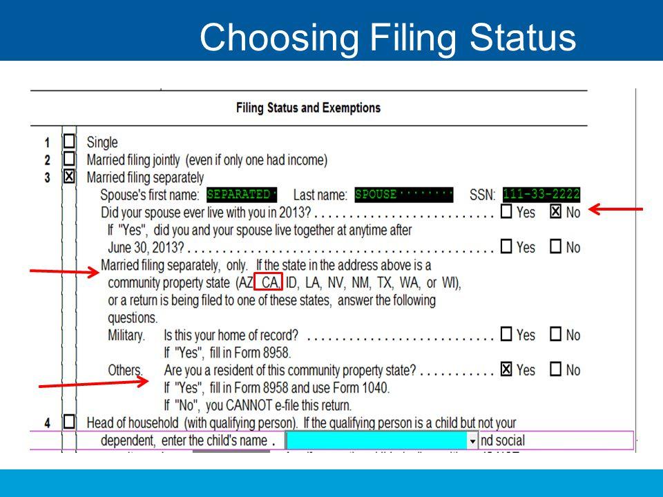 Choosing Filing Status