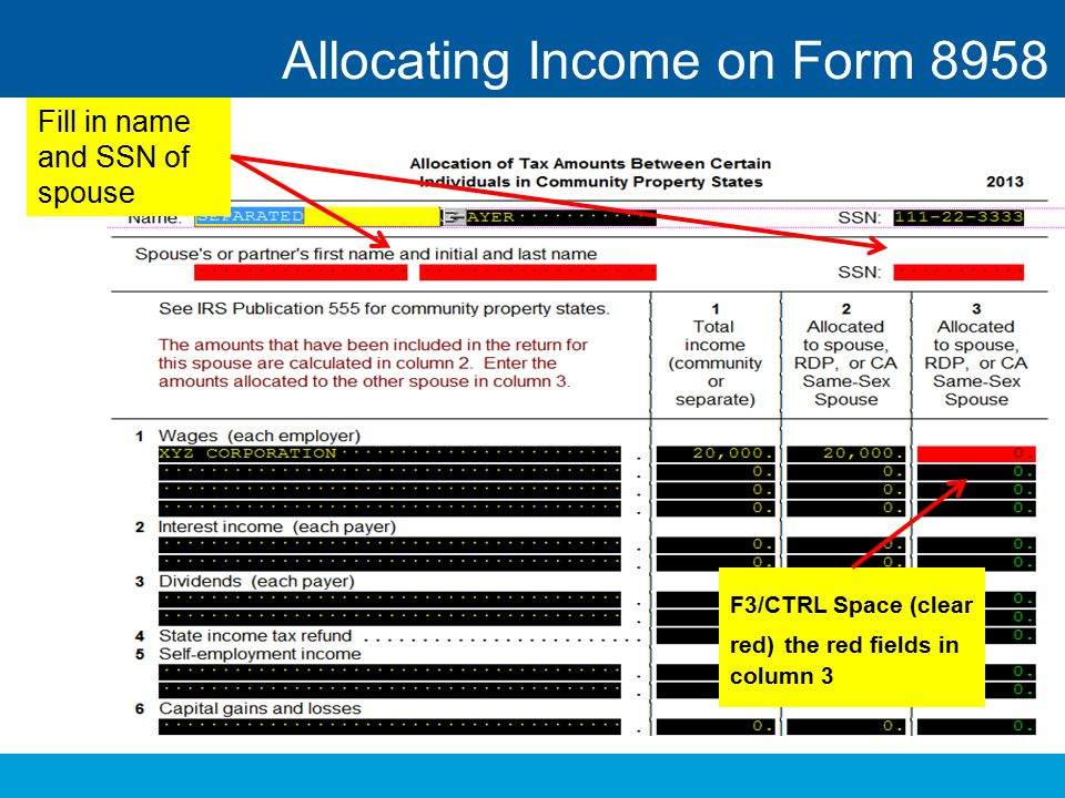 Allocating Income on Form 8958