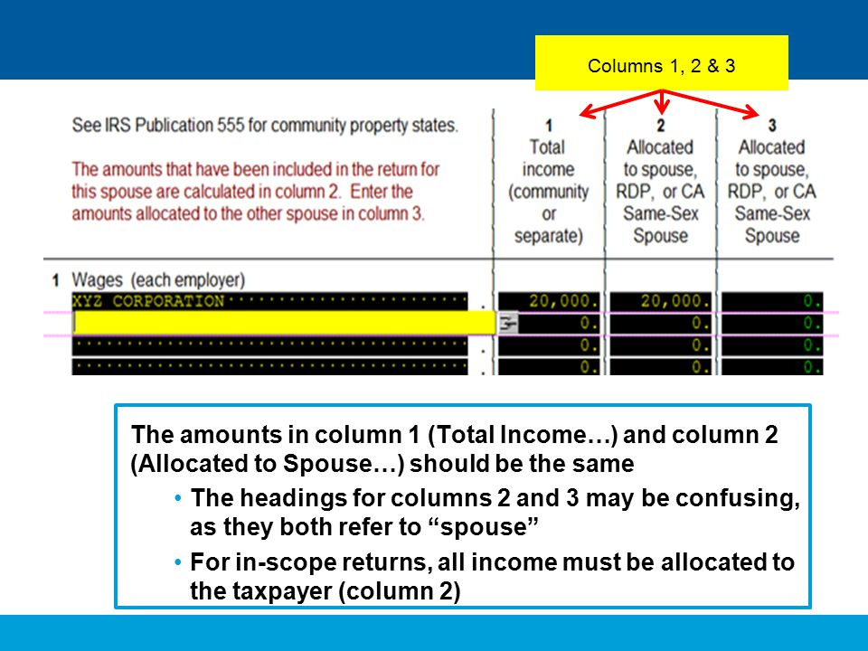 Columns 1, 2 & 3 The amounts in column 1 (Total Income…) and column 2 (Allocated to Spouse…) should be the same.