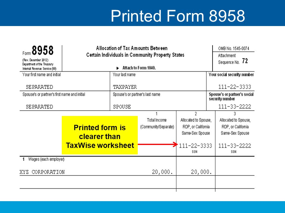 Printed form is clearer than TaxWise worksheet