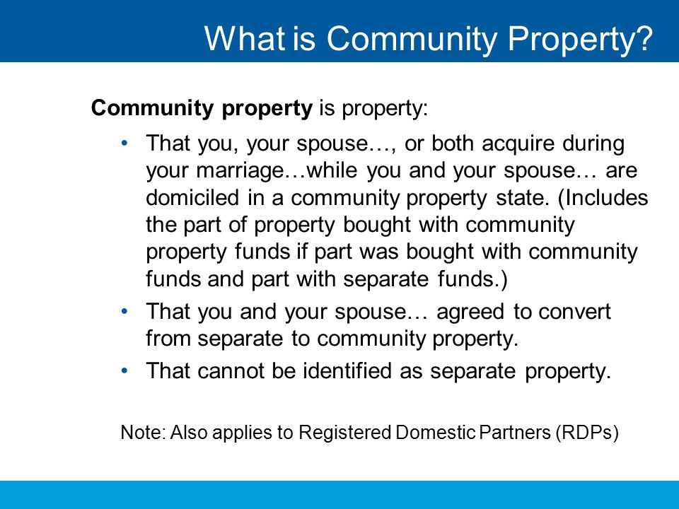 What is Community Property