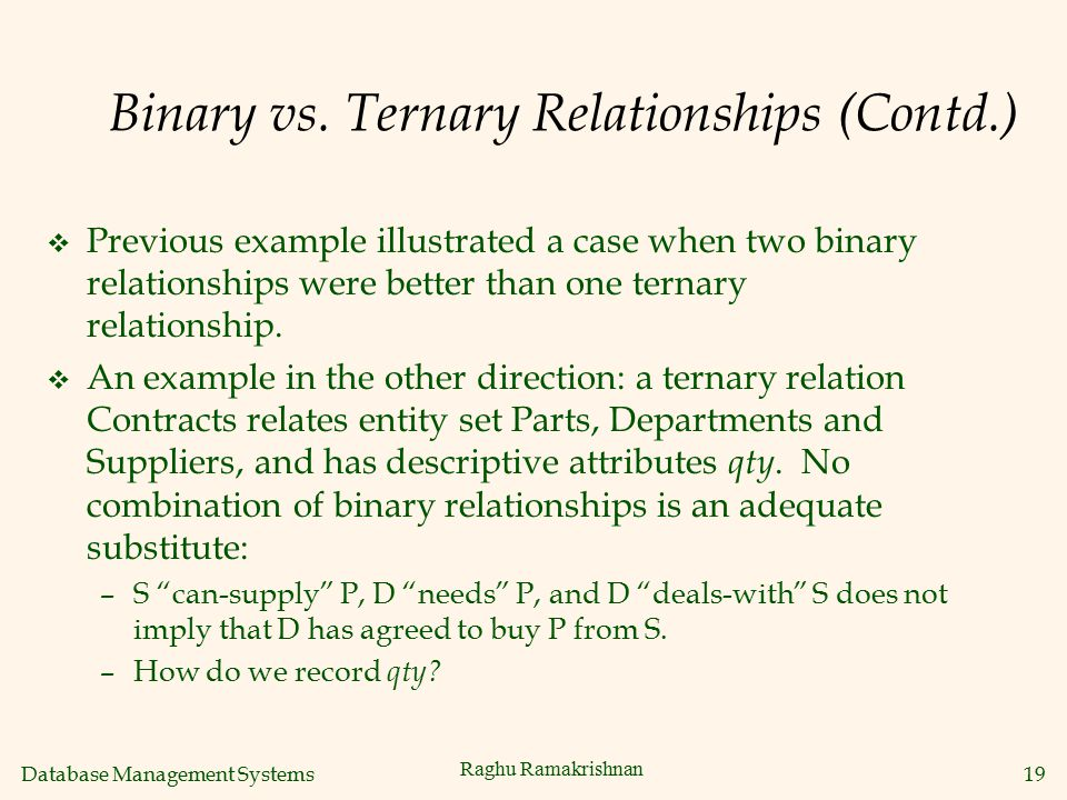 Binary vs. Ternary Relationships (Contd.)