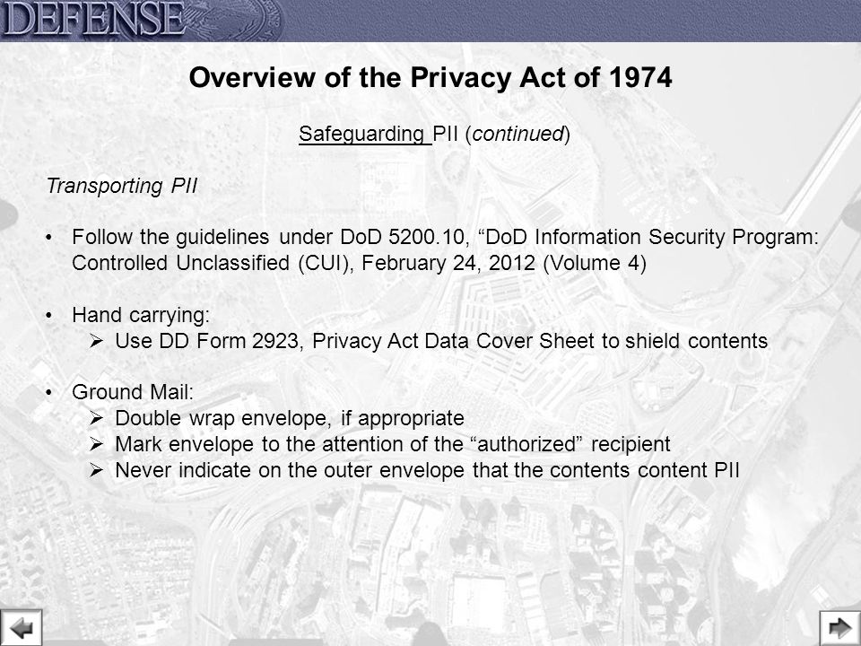 Fy  Privacy Act Training Overview Of The Privacy Act Of Ppt