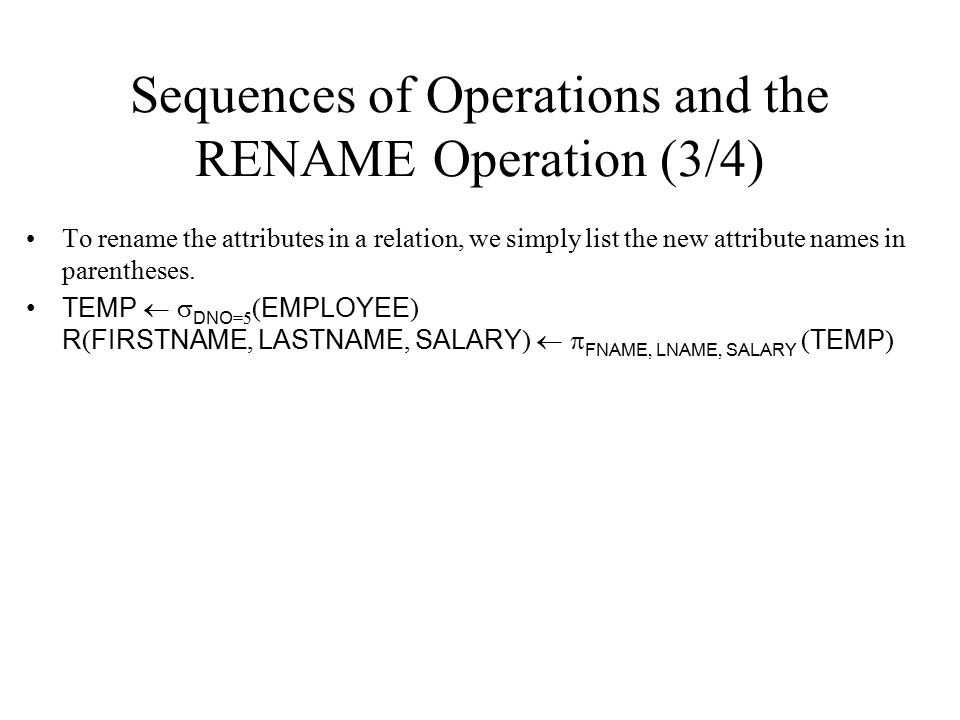 Sequences of Operations and the RENAME Operation (3/4)