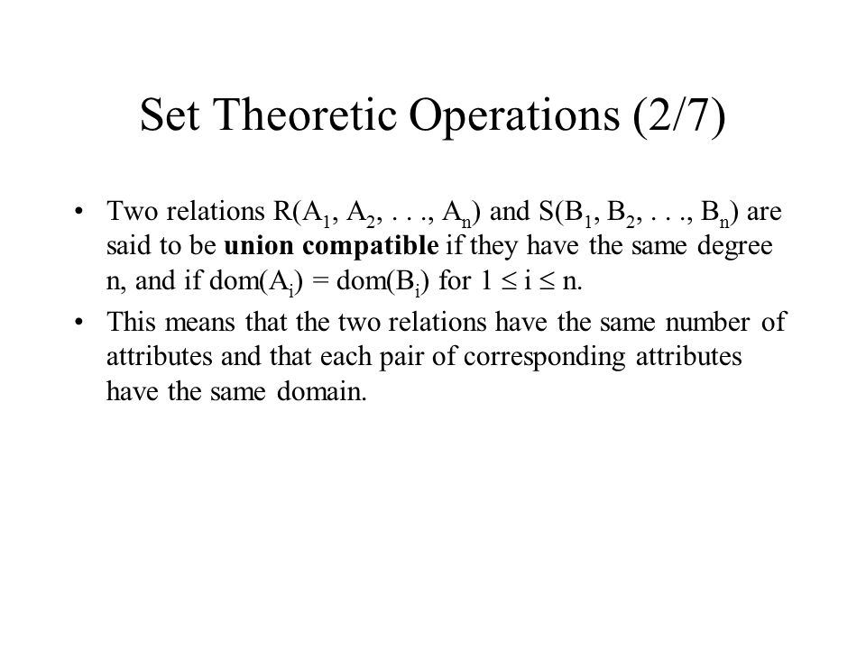 Set Theoretic Operations (2/7)