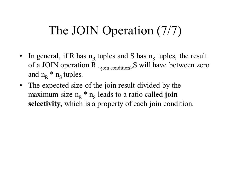 The JOIN Operation (7/7)
