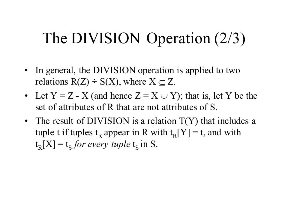 The DIVISION Operation (2/3)